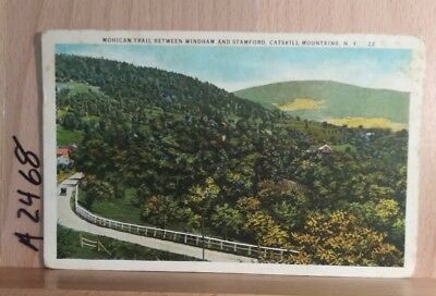 White border postcard scene on the Mohican Trail in New York State