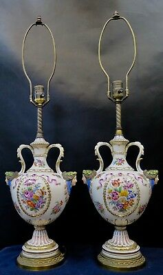 Vintage Early 20th Century Paris Porcelain Table Lamps (Pair)