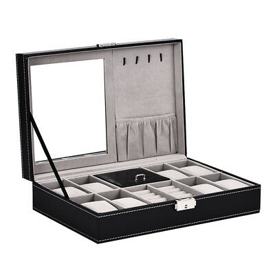 Men Watch Display Case Large Jewelry Organizer Box Storage Luxury Holder 8 Slot