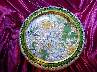 Chinese Cloisonné Enamel Inlay Brass LARGE BOWL Flowers Butterflies Blue Green Y