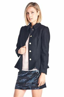 adabd8a191f9 New Ted Baker London Women s Jacket Bracti Peplum Detail Coat Style Black