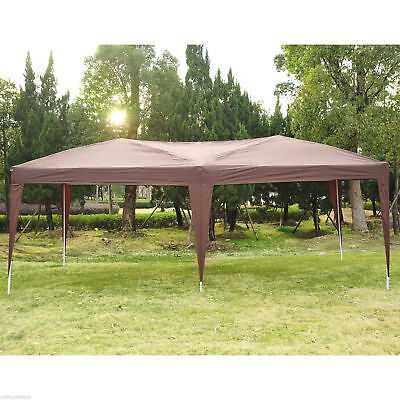 Pop Up Party Tent Patio Gazebo Canopy Foldable Outdoor Oxford Coffee