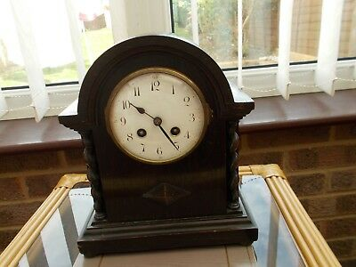 Dark Wood French Japy Freres Antique  Mantel Clock No 22391 With Enamel Dial