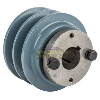 "Cast Iron 3.5"" 2 Groove Dual Belt B Section 5L Pulley With 1"" Sheave Bushing"