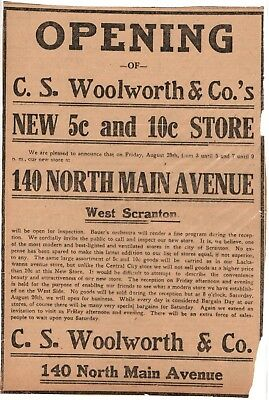 Vintage GRAND OPENING C.S. Woolworth & Co. Scranton PA Newspaper Ad