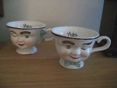 Vintage Bailey's Irish Cream Limited Edition His & Hers Yum Faces Cups - Look!!