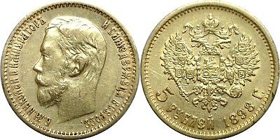 1898 Russia 5 Roubles Gold Y# 62 Circulated