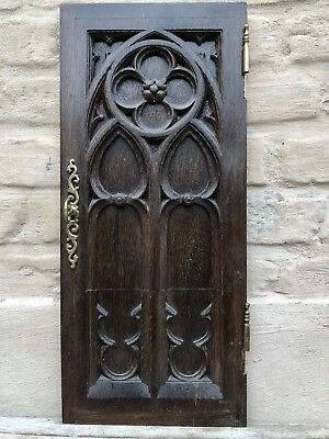 SALE!! Antique French Gothic  Door Panel in wood circa 1900