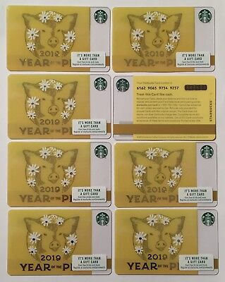 2019 Starbucks Gift Card. YEAR OF THE PIG. Set of 8. Mint. Worldwide shipping