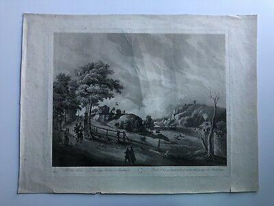 Large Antique Late 18th Century Engraving Views Of Stockholm Sweden #ENG1