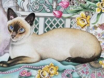 "RARE NIB Vintage 1993 Aynsley Bone China ""Spring Cat"" Plate, Blue-eyed Siamese"