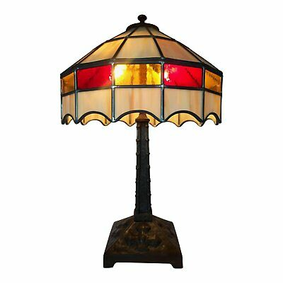 Slag Glass and Arts and Crafts Movement Iron table lamp, 25 inches H