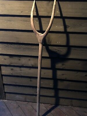 Antique Wooden Pitchfork Hand Made Farm Tool Vintage Hay Fork Rare