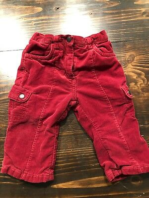 Janie And Jack Toddler Girls Red Lined Corduory Pants 12-18 Months