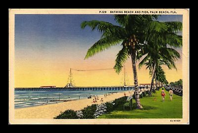 Dr Jim Stamps Us Bathing Beach Pier Palm Beach Florida Linen Postcard