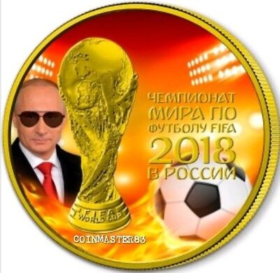 2018 Russia WORLD CUP PUTIN FIRE GLASSES 1 Oz Silver Coin, 24Kt Gold Gilded.