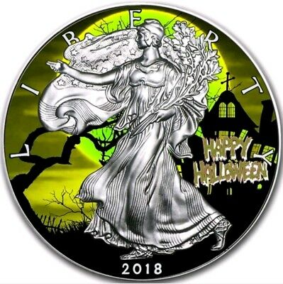 2018 USA $1 HAPPY HALLOWEEN WALKING LIBERTY 1 Oz Silver Coin.