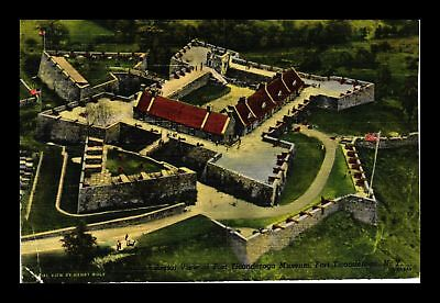 Dr Jim Stamps Us Fort Ticonderoga Museum New York Linen Aerial View Postcard