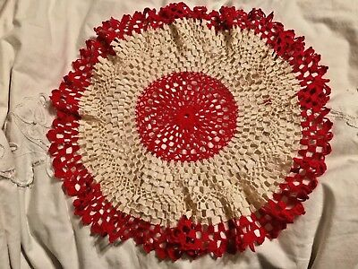 Vintage Hand Crocheted Doilie Red & White / 18 Inch round