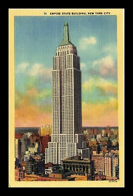 Dr Jim Stamps Us Empire State Building New York City Linen Colortone Postcard