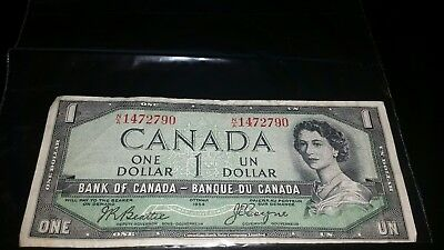 1954 Canada 1 One Dollar Canadian Bill circulated Banknote
