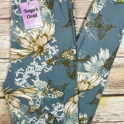 PLUS Floral Butterfly Garden Leggings Buttery Soft Curvy 10-18 TC