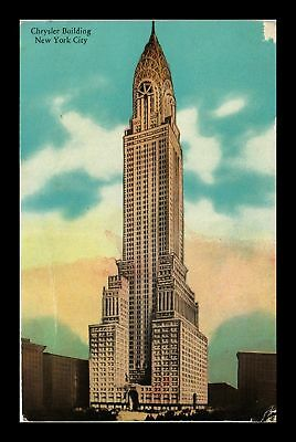 Dr Jim Stamps Us Chrysler Building New York City Postcard Torn Edge Scuffed