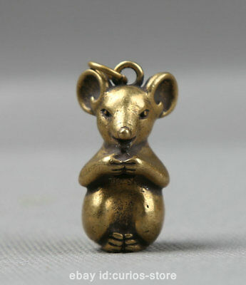 "1.3"" Collect Curio China Bronze Zodiac Animal Likable Mouse Small Pendant 18.9g鼠"
