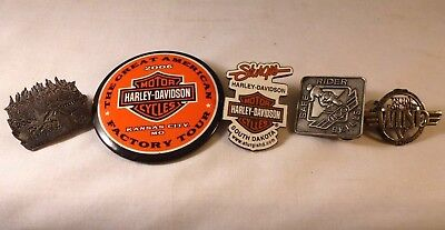 Lot of 5 Harley-Davidson Pins Sturgis Safe Rider Factory Tour Run with the Wind