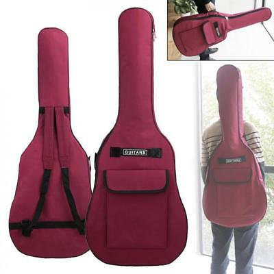 """40"""" 41"""" Red Acoustic Guitar Double Straps Padded 5mm Soft Case Gig Bag Backpack"""