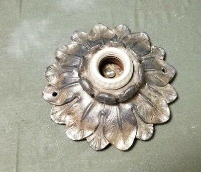 Vintage Mid-Century Ceiling Light Fixture Orate Metal Leaves Petals