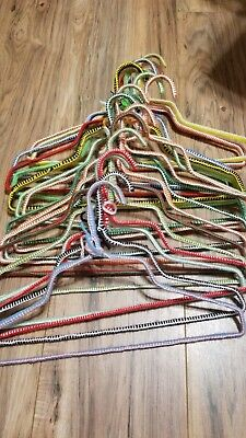 Lot Of 25 Vintage Crocheted Wire Clothes Hangers Colorful Pink Purple Green Blue