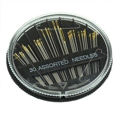 30PCS Assorted Hand Sewing Needles Embroidery Mending Craft Quilt Sew Case W4 HG
