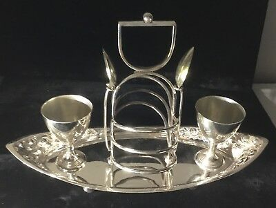 English Toast & Egg rack, silverplate with spoons