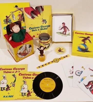 Curious George Collectibles Lot - Watch, Books, Record, Stationary...etc.