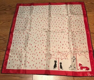 """Vintage 1960s Vera """"Its Raining On Cats & Dogs"""" Scarf. Japan Red, White, Black"""