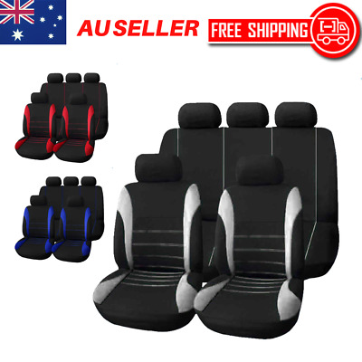 Universal Car Seat Covers Set Front Rear Seat Back Head Rest Protector 9pcs AU