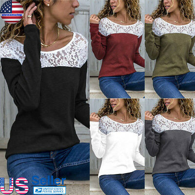 Women's Round Neck T-shirt Lace Blouse Patchwork Top Long Sleeve Slim Basic Tops
