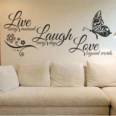 Live Laugh Love Flower Wall Stickers Butterfly Adhesive Door PVC Glass Bedroom