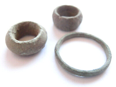 IRON AGE Hallstatt Culture ANCIENT Celtic Bronze Ring & Beads > found together