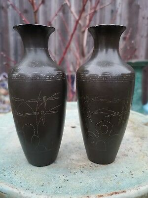 Old Chinese Antique Qing 19th Pair of 2x Bronze Vases Marked Asian China Qing