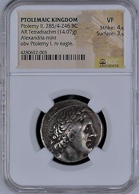 PTOLEMY II Signed Δ Delta / Egypt Ancient Greek Silver Tetradrachm Coin NGC VF