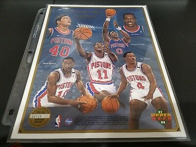 1991 Detriot Pistons Upper Deck Commerative Sheet W/rodman Thomas Dumars Mint