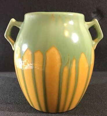 Arts & Crafts Art Pottery Double Handled Green Over Yellow Vase