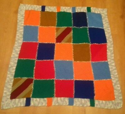 """New Handmade Knitted Multi Colour Patchwork Baby Picnic Blanket 33""""X33"""" Only £5"""