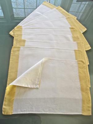 Set 8 Vintage Pure White Linen with Wide Yellow Borders Placemats Handcrafted