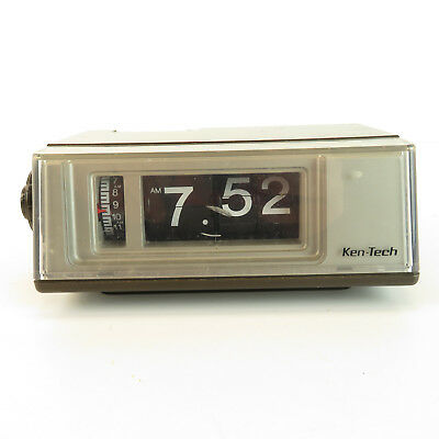 1970's Ken-Tech Flip Clock - Vintage Alarm Clock Made in Japan