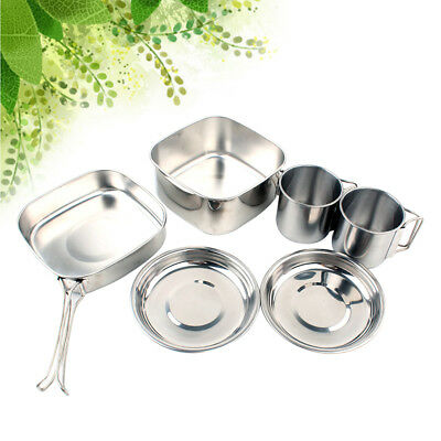 6PCS Stainless Steel Portable Durable Cookware Set for Hiking Camping Backpacker