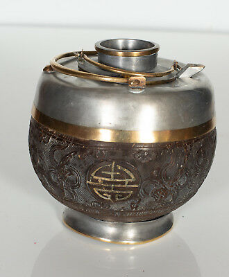 Vintage Double Chinese Metal Teapot Signed