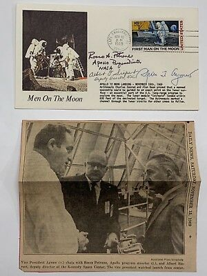 Vice President Spiro Agnew autograph postal cover letter Apollo 12 with paper